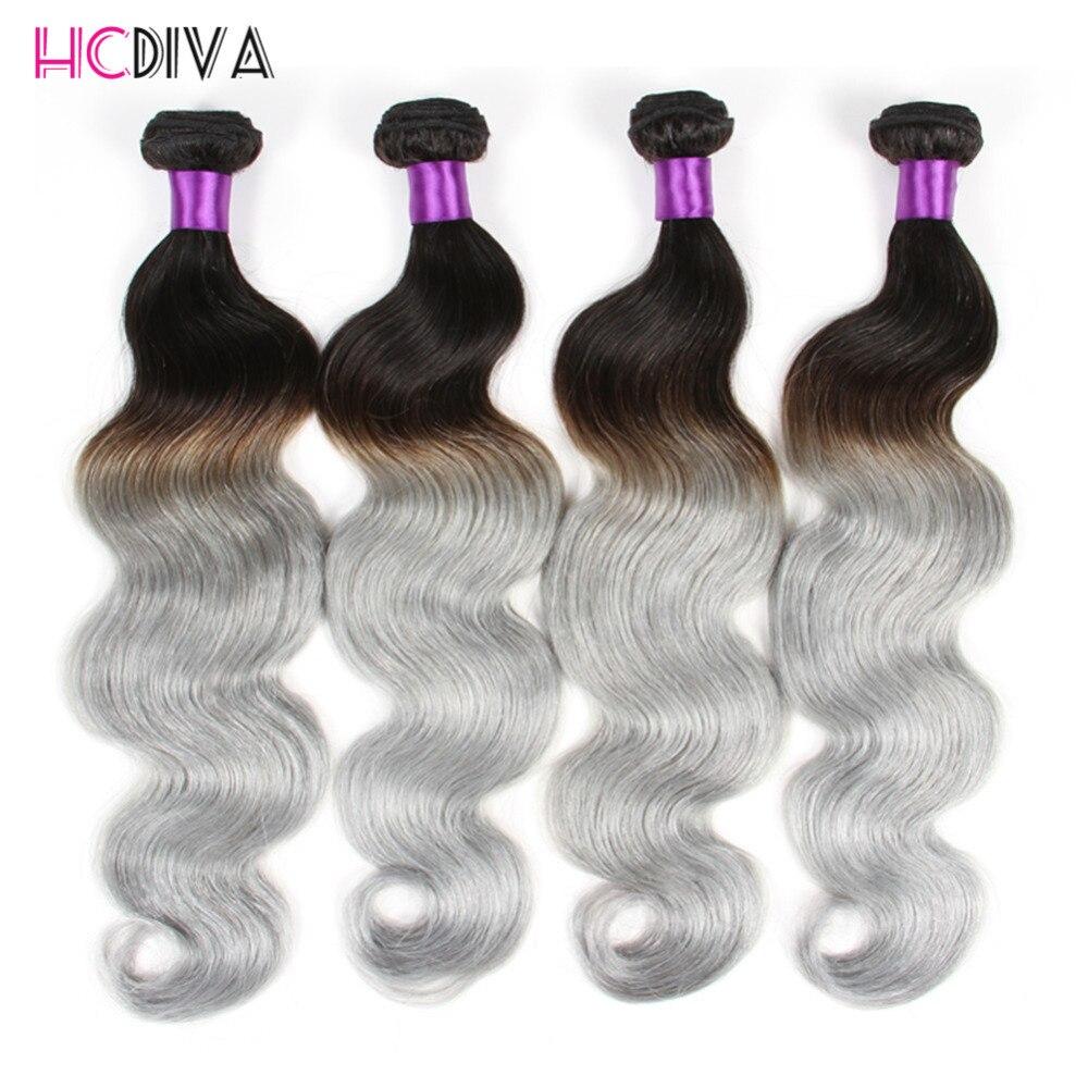 Grey Hair Weave Ombre Brazilian Body Wave Human Hair Extensions 4 Bundle Two Tone Brazilian Weave Hair Grade 8a Unprocessed Hair<br><br>Aliexpress