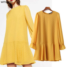 Freeshipping vestidos summer dress 2017 The European and American wind cut flowers yellow dress couture fashion dot chiffon