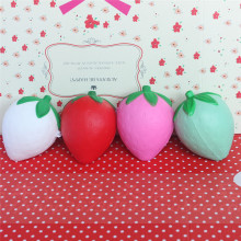 wholesale 10pcs/lot 8cm cute strawberry squishy simulation Fruit kawaii super rising squishies bun handbag keys cell phone charm(China)