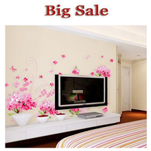 Sakura romantic living room TV wall stickers  Wall Stickers Home Decor 3d Wall Stickers Wall Stickers For Kids Rooms