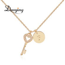Duoying Brand Personalized Chocher Key Round Custom Name A-Z Letter Necklace Supplier for Ebay Amazon Engrave different Language(China)
