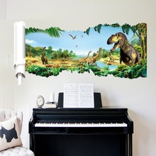 fancy cartoon dinosaurs forest wall stickers decals kids jurassic jungle vinyl wallpaper poster boys home bedroom house decor