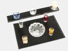 17.5 inch+23.5inch Rectangle Rubber Beer Bar Service Spill Mat for table black waterproof pvc pad kitchen glass coaster placemat