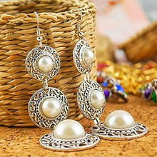 LNRRABC Fashion 1 Pair Elegant Women Lady Ethnic Style 3 Circle Tassel White Simulated Pearl Dangle Earrings