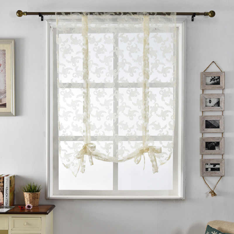 Curtains Kitchen short fabrics white curtains door tulle sheer window roman home textile treatment jacquard