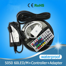 Non-Waterproof 12V LED Strip Lights RGB 5050SMD 30LED/M 5M/Roll+Adapter Power Supply,only RGB/Changeable with 24Keys Controller