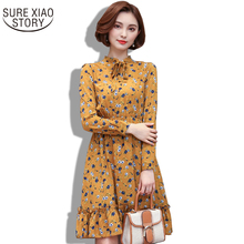 Broken Beautiful Dress Long Spring 2017 New Printing Long Sleeve Chiffon Dress Female Color Spring Elegant Chiffon Dress 700A 30