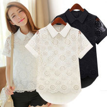 Buy Peter Pan Collar Women Hollow Lace Short Sleeve Blouse Shirt Tops Casual Summer Black White Lace Blouses Clothes for $5.77 in AliExpress store