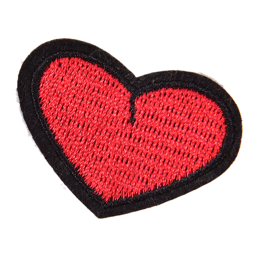 1 PC Heart Iron On Patch Embroidered Applique Sewing Label Clothes Stickers Apparel