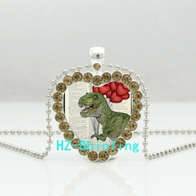 New Dinosaur Art Print Heart Necklace Giraffe Crystal Pendant Vintage Jewelry Glass Cabochon Crystal Necklace