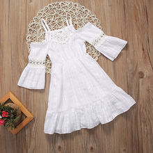 kids Girls Dresses Princess girl clothing cold the shoulder Kids Wedding Dress for girl summer White sundress Clothes