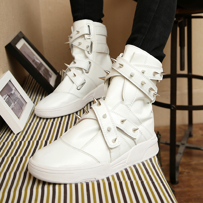2017 New Mens Spring And Autumn  Leisure Shoes Fashion  Rivets High-top Tide Shoes  Cross-connection Black And White Boots<br><br>Aliexpress