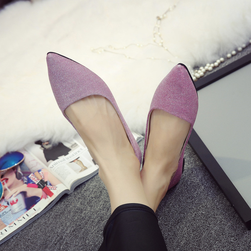 Bling pointed toe flats solid color gentlewomen all-match single shoes flat fashion shoes womens shoes<br><br>Aliexpress