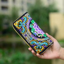 Women Wallets Brand Exquisite Embroidered Double Faced Floral Long Design Canvas Zipper National Trend Purse Card Holder