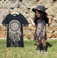 2016 hot sale design Girls dress children's clothing personality loose-fitting style baby black wild fringed dress DQ0244