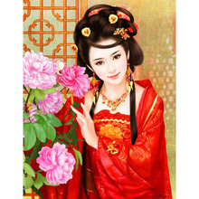 HOT cross stitch chinese girl china factory crystal mosaic diamond embroidery 5d diamond diy 3d diamond painting girls RS300