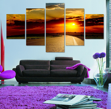 Wall Art Canvas Painting 20106 Rushed Art Unstretched 5 Pieces The Sun Canvas Prints Picture To Photo On For Home Decorations(China)