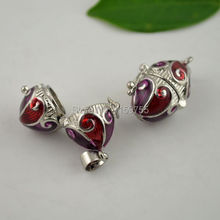 Really Beautiful~30pcs Oval Enamel Red Color Prayer Box Charm Jewelry