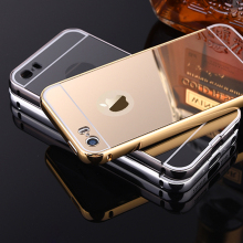 5 5S SE Case for iPhone 5 5S SE Aluminum Bumper + Acrylic Back Mirror Panel Metal Frame Back Cover Luxury High Quality Fashion