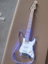 Free shipping wholsale hot guitarra st guitarra/maple neck oem Acrylic body electric guitar/with LED/guitar in china