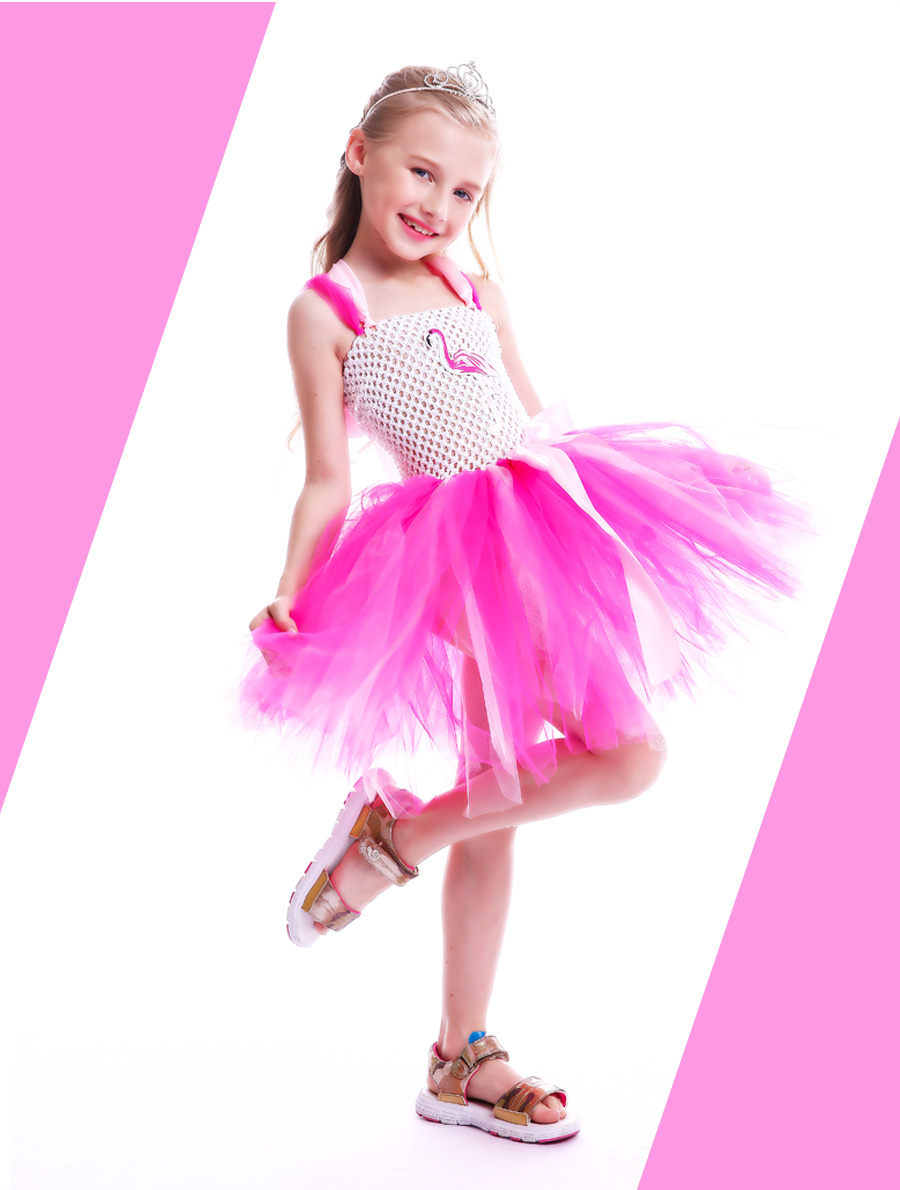 Girls Flamingo Kiss Tutu Dress Cartoon Flamingos Flower Princess Dresses for Photo Birthday Party Dress Up Clothing Summer Dress (22)