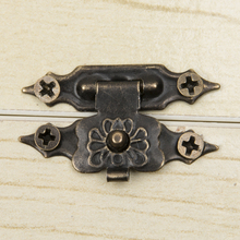 10pcs/set Vintage Fittings Furniture Jewellery Wooden Box Cabinet Suitcase Lock Hook Lid Latch Bronze Tone