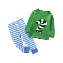 Children's Pajamas Autumn Winter Long Sleeve Cartoon Animal Sleepwear For Kids Striped Clothing Sets Baby Girls&boys Homewear(China)