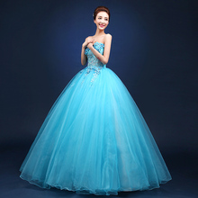 2016 Brand New Floor Length Stage Solo Costumes Strapless Flowers Appliques Singer Performance Ball Gown