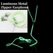 Fashion Creative Sports Earphones Headset with Mic Luminous Light Glow in the Dark Zipper Earphone for Mobile Phone MP3 MP4(China)