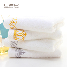 LFH Hotel towels cotton white spiral satin embroidery long - staple cotton towel manufacturers wholesale custom
