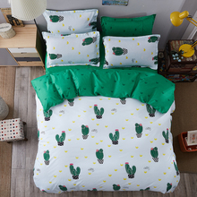 Green Cactus Patterns Bedding Set Bed Sheets Duvet Cover Pillowcase for Bedroom 4 / 3pcs Housse de Couette King Size