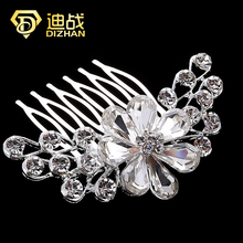 Top Quality Shiny Bridal Wedding Flower Large Crystal Rhinestones Diamante Floral Hair Clip Comb Hair Accesories