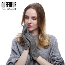 Women Winter Real Leather Gloves Fashion Genuine Sheepskin Gloves Female Goat Skin Leather Warm lined Black High-grade Gloves