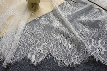 3M/ lot Eyelash Lace Fabric 60cm DIY Soft Off White Nylon Eyelash Lace Trim Home Furnishing wedding veil curtain Material