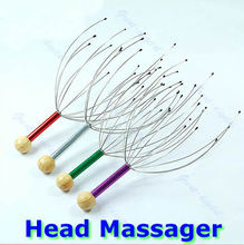 U119 Free Shipping Hot Head Neck Scalp Massager Massage Equipment Stress Relax With Wood Handle(China)