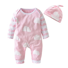2017 Autumn Style Baby Girl Clothes Cartoon Pink Cute Newborn Toddler Jumpsuit+Hat 2 Pcs Baby Girl Clothing Infant Clothing Set(China)