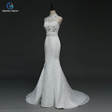 2017 White/Ivory Sexy Mermaid Dress Train Lace up Sleeveless Halter Wedding Dresses Beads Crystal Elegant Bride Customzie DLD92(China)