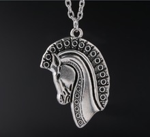 1 Pcs Horse Head Pendant Necklaces Tibetan Silver Charms Fashion Jewelry Gift New
