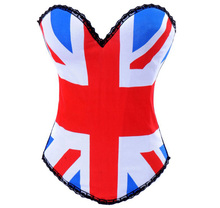 MOONIGHT Sexy British Flag sexy Overbust Corset Top Basque Underwear Bustier waist corsets and bustiers S M L XL 2XL