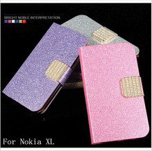 Fashion Newest Shimmering Powder PU Leather Phone Case Cover For Nokia XL Dual SIM RM-1030 Flip Phone Case With Card Slot