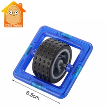 MiniTudou Square With Car Wheel Magnetic Building Toy Toddler Educational Game Assembly Construction(China)