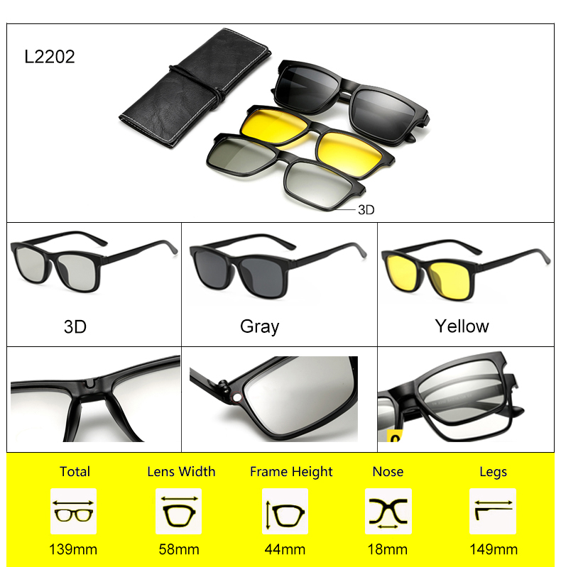Ralferty 2018 Multi-Function Magnetic Polarized Clip On Sunglasses Men Women Ultra-Light TR90 3D Yellow Night Vision Glasses 5