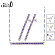 Effie Queen Jewelry Set for Women with Purple color CZ Stone Stud Earrings & Chain Pendant Necklace Free Shipping WS75