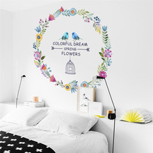 Colorful Dream Spring Flower wall stickers TV Background Sofa decoration Birds Butterfly wall decal sticker Wedding Decor(China)
