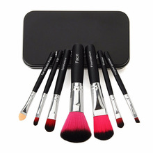 Hot Pro Hello Kitty Makeup Cosmetic Brush 7PCS Set Kit Iron Mini Professional Facial Brushes Metal Box Black/Pink Cute Gift(China)