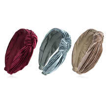 Metting Joura Bohemian Vintage Olored Velvet Big Knotted Bow Wide Headband Hairband Hair Accessories