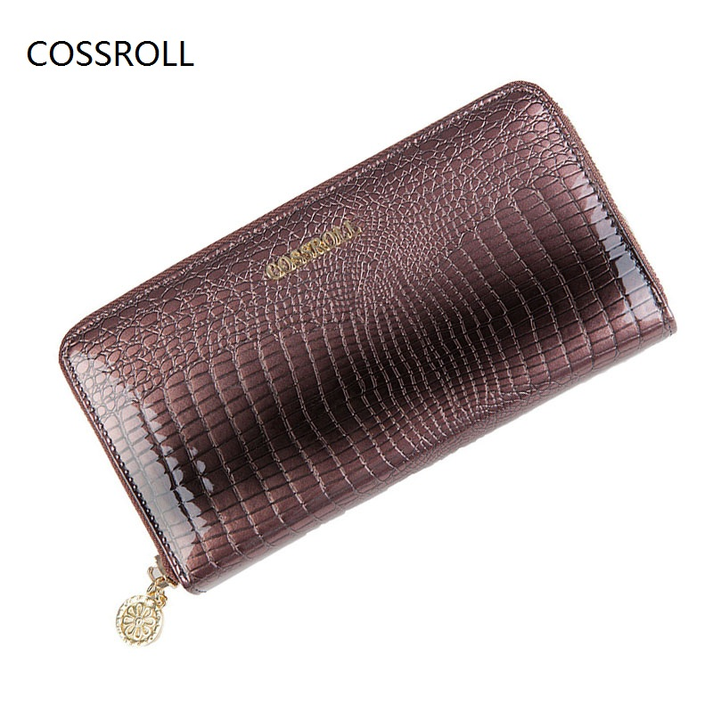 2017 luxury brand women genuine leather wallet long real leather women wallets ladies coin pruse with zipper clutch wallet<br>
