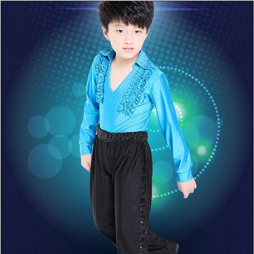 New Children Sets Boys clothes V-neck Latin Dance Clothes Nylon Long Sleeve Shirt+Pants Slim kids Clothes Stage Dance Clothing<br><br>Aliexpress