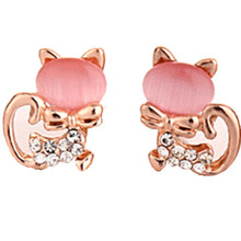 2017 New Hot Fashion Fine Jewelry Gold Color Super Cute Sweet Fresh Opal Rhinestone Kitty Cat Stud Earrings For Women Girl