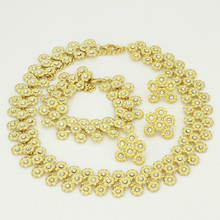 2017 Morocco Italy Dubai Accessories Fashion Women Gold  Full Flowers Necklaces Wedding Bride Bridal Wedding Jewelry Sets